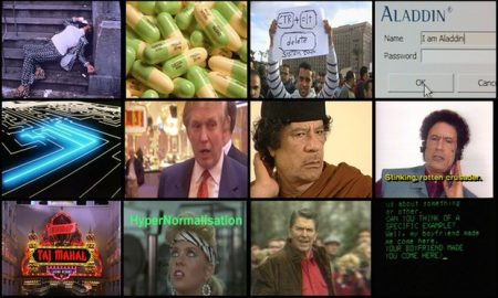 "A collage of images from Adam Curtis' documentary ""Hypernormalisation."""