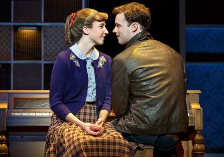 "Queens College. Julia Knitel (""Carole King"") and Liam Tobin (""Gerry Goffin"") in 'Beautiful.' Photo: Joan Marcus."