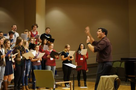 PSU choral director Ethan Sperry works with students at Choral FX.