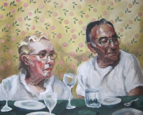 "Wilder Schmaltz, ""The Folks,"" 2003. Oil on canvas, 24 x 30 inches. Courtesy of the Artist."