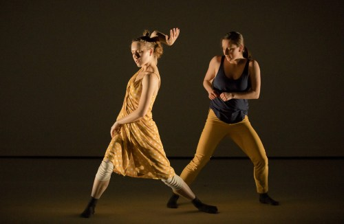 "Katie Scherman, left, and Alyssa Puleo in Scherman's ""Assez"" (2014) at BodyVox Dance Center, March 22, 2018/Photo by Blaine Truitt Covert"