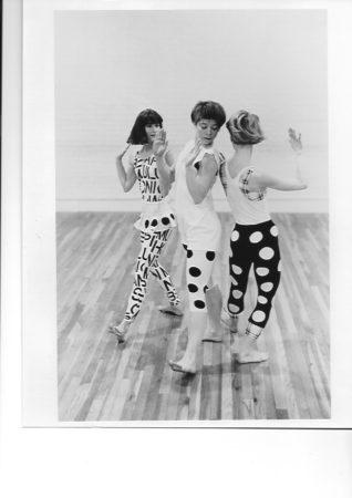 "Sandra Mathern, Bonnie Nedrow, and Sara Padilla dance Merrill's 1987 work""Dots and Stripes Forever."" Photo courtesy of Sara Padilla."