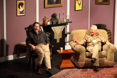 Brian Doyle (left) and Terry Brooks share armchairs and laughter in 2014. One of the charms of Get Lit at the Beach is the intimate setting. Photo courtesy: Get Lit at the Beach