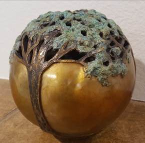 """Carol Alleman's """"Serenity"""" (cast bronze, 5.75 by 5.75 inches, 2014), is one of 260 from more than 30 mostly local artists at the McMinnville Event Center for the Arts."""