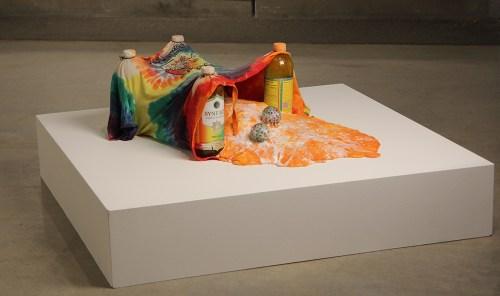 "Ryan Kitson, ""Fermentation Elastic"", 12x35x24 inches, resin, glass,t-shirt, plaster, fidget balls, slime, lavender scented bath salt/Schneider Museum of Art"