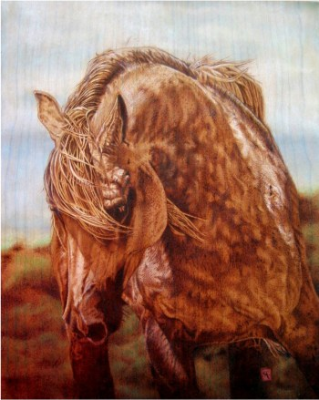 "Cynthia Longhat-Adams of Depoe Bay is a multi-media artist whose work frequently focuses on nature and animals, such as ""Appaloosa.""  She is participating in this weekend's Art on the Edge Studio Tour."