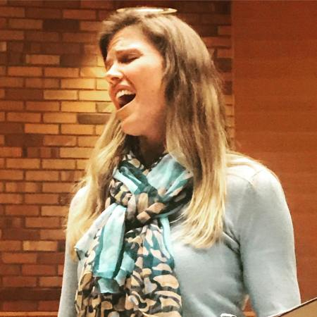 Mezzo-soprano Sarah Maines rehearses at Cerimon House for February 3rd Women Singing Women concert. Photo courtesy of Resonance Ensemble.