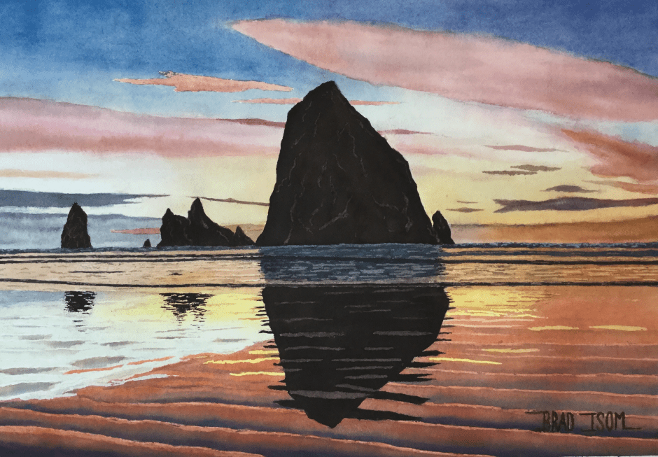 """Haystack Rock"" by Brad Isom (2019, watercolor)"