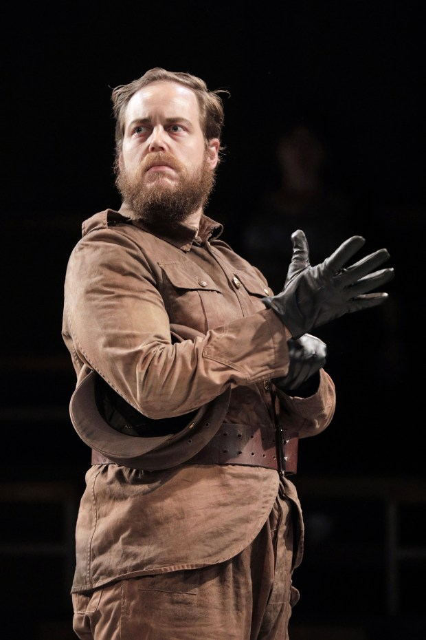 Ryan Thorn as The Officer in Portland Opera's new production of Philip Glass's In the Penal Colony. Photo by Cory Weaver.