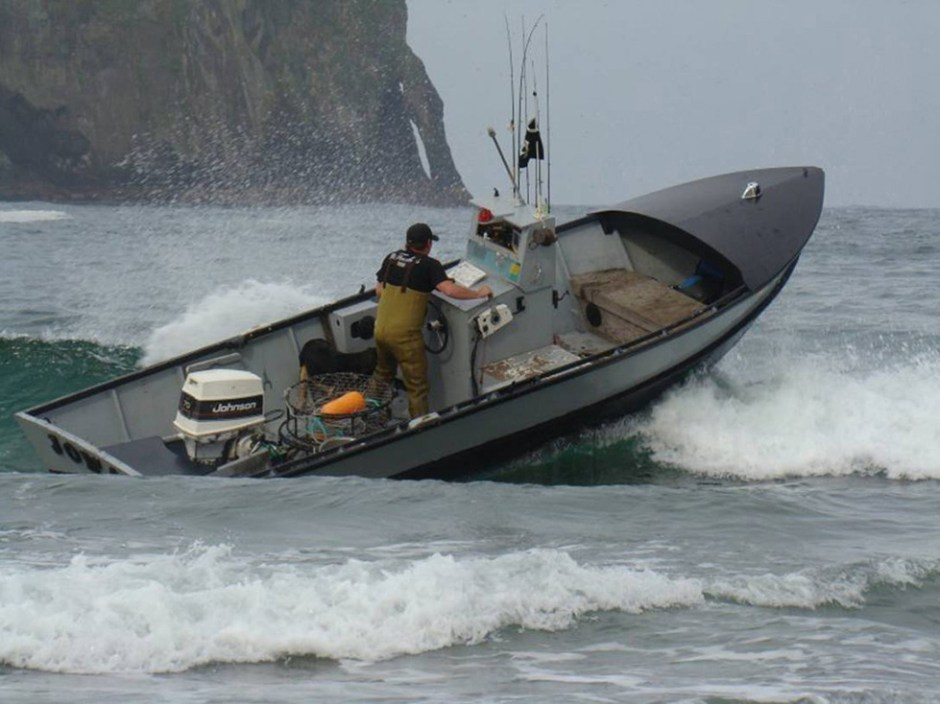 Modern dory boats retain the flat bottom, but have a squared stern to accommodate an outboard motor.  Pacific City's 60th annual Dory Days is July 19-21. Photo courtesy: Pacific City Dorymen's Association