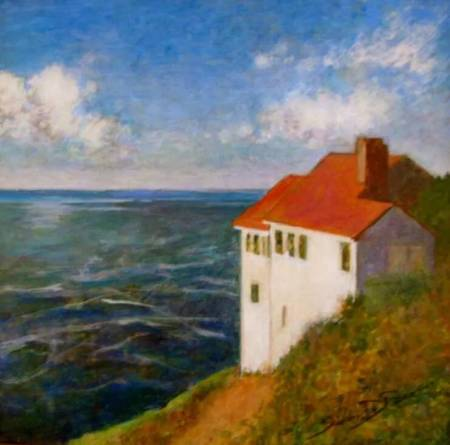 """Cape Foulweather"" by Susan DeRosa is among the pieces in a Newport Visual Arts Center show celebrating four decades of the Sandgren PaintOut Project."