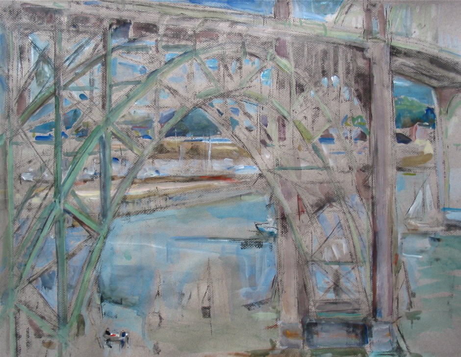 """""""Newport Bridge,"""" by Bets Cole, is one of the paintings produced during the Sandgren Coast PaintOut."""