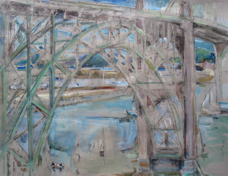 """Newport Bridge,"" by Bets Cole, is one of the paintings produced during the Sandgren Coast PaintOut."