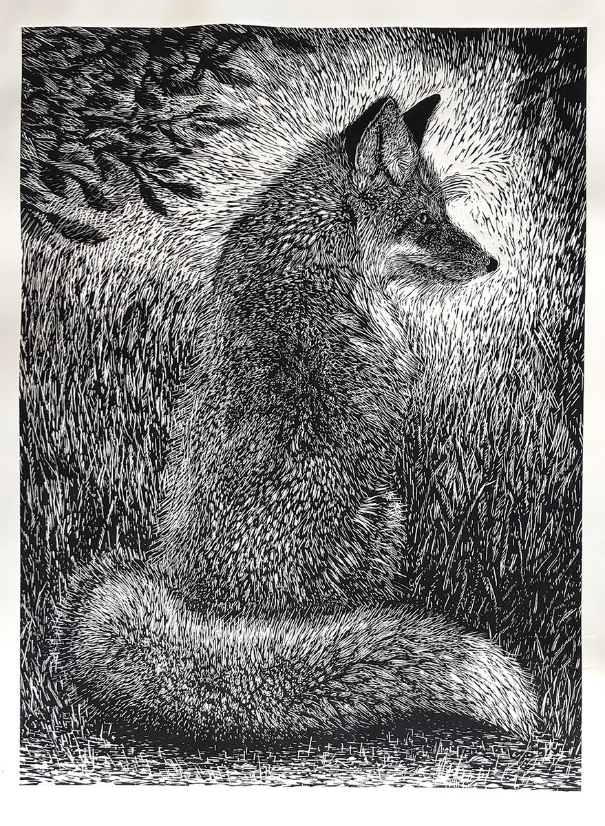 """Waiting Fox,"" by Marit Berg (linocut print, 26 x 34 inches) is one of the fox and hare series on display in Cannon Beach's Imprint Gallery."