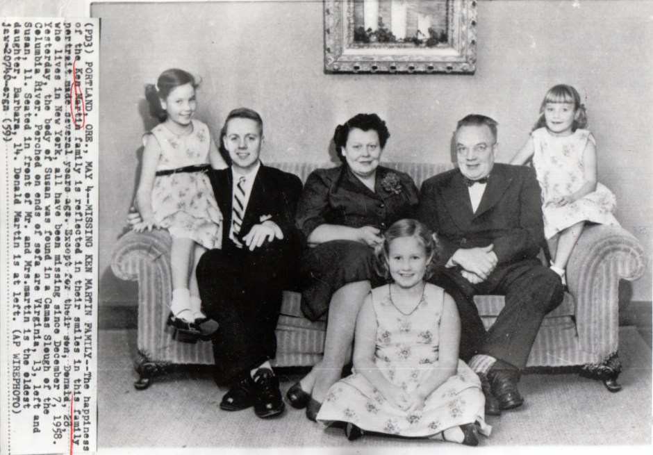 """The happiness of the Ken Martin family is reflected in their smiles"" notes the caption of an AP Wirephoto published in May 1959, the day after the body of 11-year-old Susan (far right) was found in a Camas Slough. Other family members are (from left): Virginia, 13; son Donald (no age given); parents Barbara and Ken; and Barbara, 14 (seated on floor). Except for Donald, the family disappeared in December 1958 on a Christmas-tree outing. Photo courtesy: JB Fisher"