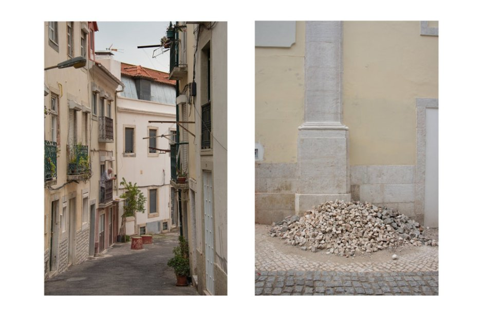 Photographer Liz Obert says she looks for geometry and color combinations in her compositions, which she has presented as diptychs to further emphasize the contrast and transition in Lisbon.