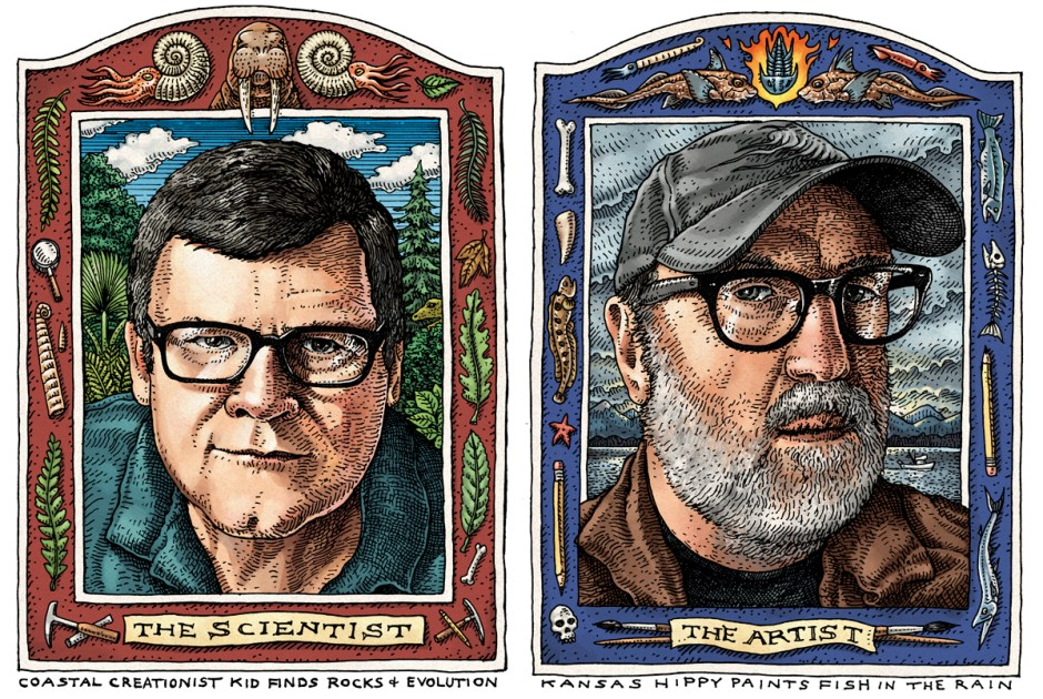 "Paleontologist Kirk R. Johnson (left) and artist Ray Troll have collaborated on a second fossil-filled book, ""Cruisin' the Fossil Coastline.""  Art by: Ray Troll"