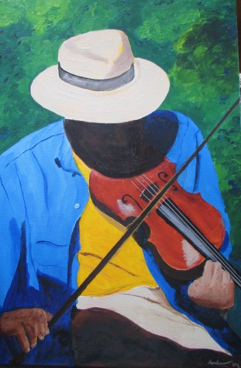 """""""Fiddle"""" is a self-portrait by Dave Ambrose based on a photo (acrylic, 20 by 30 inches). Photo courtesy: Dave Ambrose"""