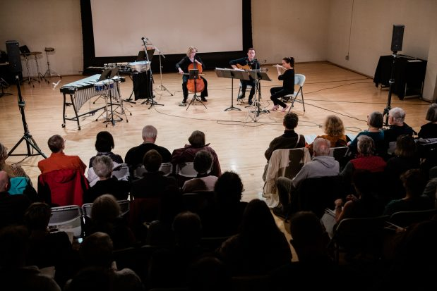 """Mario Díaz, Sarah Tiedemann, Valdine Mishkin, Chris Whyte performed on Third Angle's """"Homecomings"""" concert at New Expressive Works, October 2017. Photo by Kenton Waltz."""