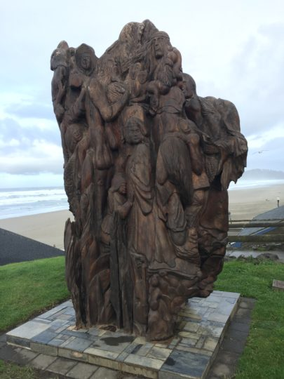"Juergen Eckstein carved ""Absence of Emptiness"" out of a 16-foot chunk of redwood that had washed up on the beach years previously.  He worked on the sculpture from 2007 to 2012, when it was dedicated outside the Newport Visual Arts Center.  Photo by: Karen Pate"