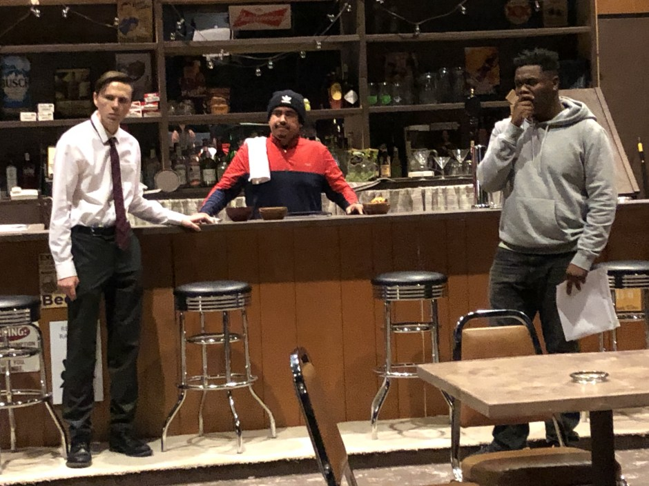 """Sam Hannigan as """"Jesse"""" (left), Edgar Lopez as """"Oscar"""" (center), and Isaiah Alexander as """"Chris"""" rehearse a scene from Lynn Nottage's """"Sweat,"""" which opens Thursday at Linfield College in McMinnville. Photo courtesy: Linfield College Theatre."""