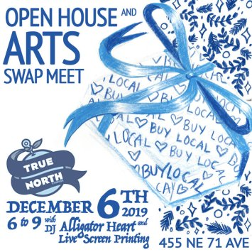 """Hand-drawn poster for event, featuring a gift-wrapped box that  bears the words """"buy local"""", holiday ephemera, and logos and information, in blue."""