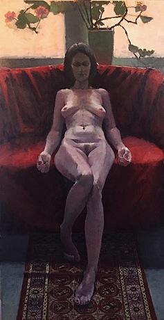 "For ""Stigmata"" (oil on linen, 60 by 32 inches), Astoria artist Robert Paulmenn drew inspiration from women friends and Edouard Manet."
