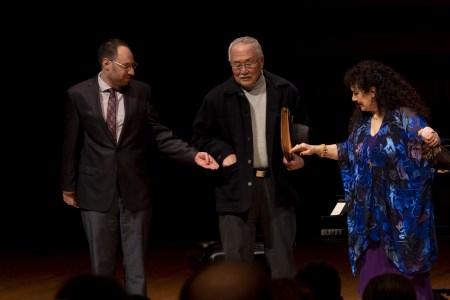 Ethan Gans-Morse, Lawson Fusao Inada, and Tiziana DellaRovere. Photo by Chava Florendo, courtesy of Anima Mundi.