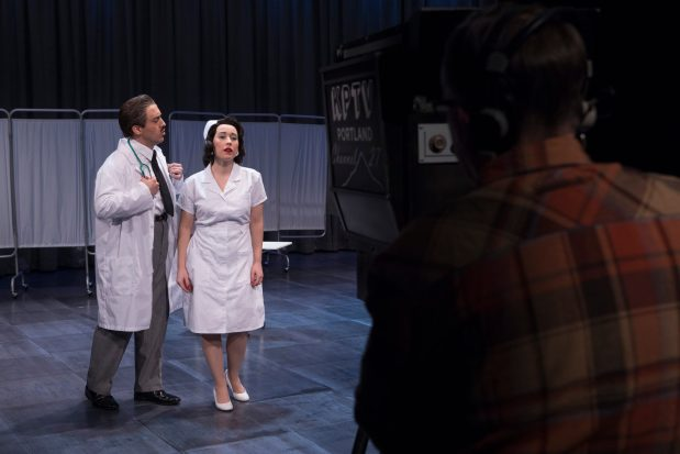 Geoffrey Schellenberg as Doctor Gregg and Emilie Faiella as Lola Markham in Gallantry. Photo by Kate Szrom.