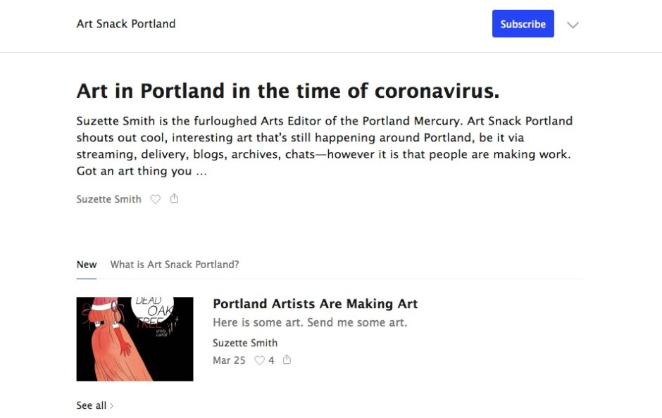 "Webpage featuring listings of events titled ""Art in Portland in the time of coronavirus"""