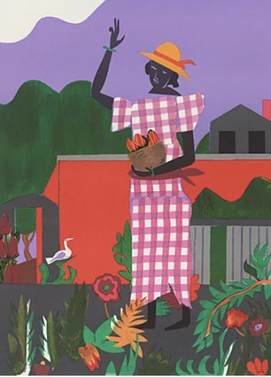 A colorful print showing a woman in a garden outside of a house, wearing a pink checkered dress and yellow sunhat, holding a basket of produce, and waving. She is surrounded by flowers and foliage, and everything is rendered in a semi-abstract, blocky collage style.
