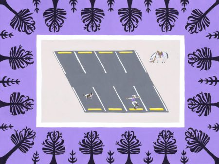 Cowboy skateboarding in a parking lot surrounded by purple decorative border