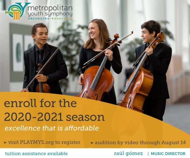 Metropolitan Youth Symphony audition enrollment 2020-2021