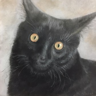 "Marilyn Affolter's work includes both paintings and photography. An exhibit through July 5 in her McMinnville gallery features animal portraits, such as ""Ash."""