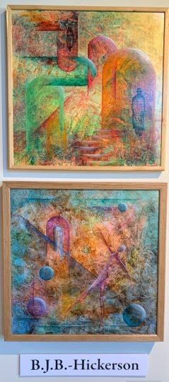 """B.J.B. Hickerson is represented in the virtual Art Harvest Studio Tour show with acrylic paintings (top) """"Time Dimension"""" and """"Through the Broken Door."""" Photo by: David Bates"""