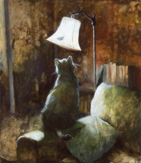 """Deborah DeWit's oil paintings, such as """"Moth,"""" often feature cats. She has a new show at the White Bird Gallery in Cannon Beach."""