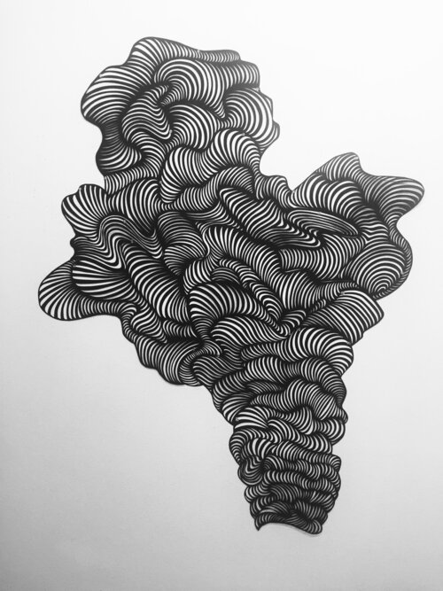 """""""Plume"""" by Ann Chadwick Reid (hand-cut black arches paper and map pins, 2017, 48 by 63 inches)"""