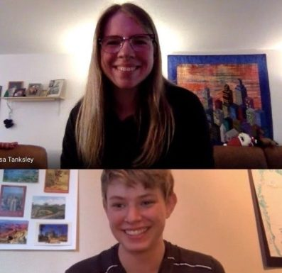 Zac Will consults via Zoom with expert technician Alyssa Tanksley. She is a graduate of Taft 7-12 in Lincoln City as well as having a degree in music education from Portland State University. Photo courtesy: Music Is Instrumental