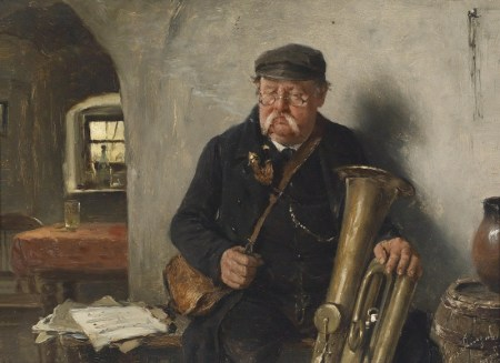 """Der Tubaspieler"" (""The Tuba Player"") by Josef Kinzel, 1892 (oil, 6 by 8 inches, private collection)"