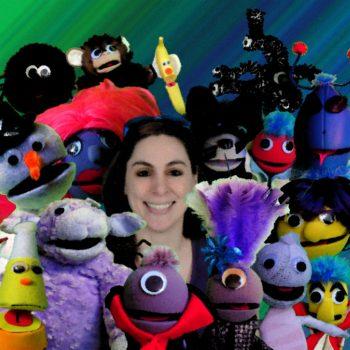 Composer Nicole Buetti and puppets. Photo courtesy of the comopser.