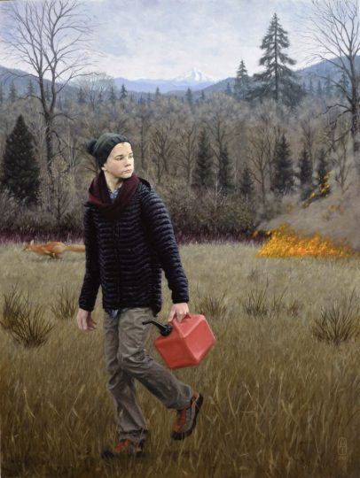 """Indifference,"" by Aron Johnston (oil on linen panel, 48 by 36 inches, 2018), was inspired by the 2017 fire set by teens that burned 50,000 acres in the Columbia River Gorge."