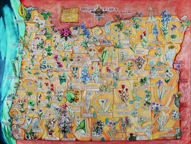 """Charlotte Mish (born Lebanon, Pennsylvania, 1896; died Portland, 1974), """"Map of Oregon Flora,"""" (1939, oil and tempera on canvas, 54 by 72 inches), State Library of Oregon, Salem. Photo courtesy: Hallie Ford Museum of Art"""
