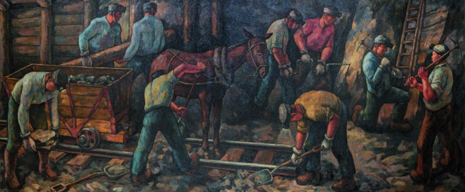 "Jacob Elshin (born St. Petersburg, Russia, 1892; died Seattle, 1976), ""Miners at Work,"" (1937-38, oil on canvas, 5 by 12 feet), collection of the City of Renton, Washington, courtesy of U.S. Postal Service. ©2019 USPS. Photo courtesy: Hallie Ford Museum of Art"
