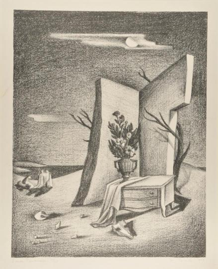 "Malcolm Roberts (American, 1913-1990), ""Lunar Landscape,"" (1937, lithograph on paper, 12-3/8 by 9-13/16 inches), Jordan Schnitzer Museum of Art, Eugene, allocated by the US government, commissioned through the New Deal art projects, WPA56:1.181. Photo courtesy: Hallie Ford Museum of Art"