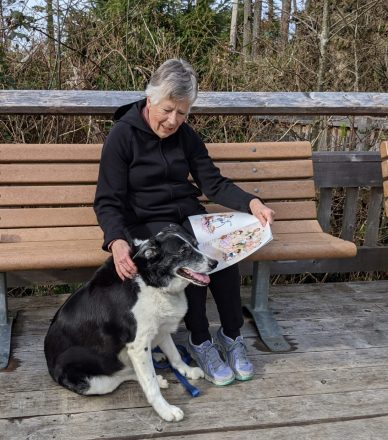 "Marilyn Karr, here with her border collie Journey, plays two roles in ""The Dog Logs"": Savoir Faire, a single-minded greyhound, and Maddie, a golden retriever, who finds life, especially boy dogs, strange. Photo courtesy: Riverbend Players"