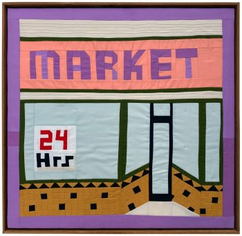 quilted image of a market storefront. 24 hours visible in the window