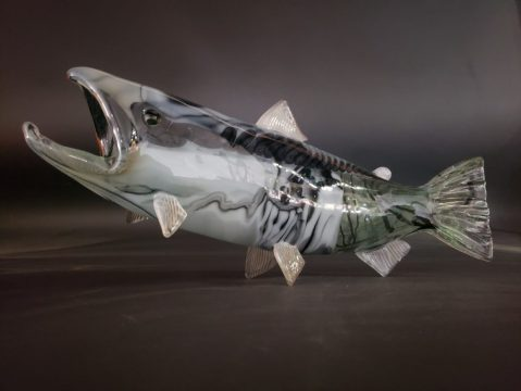 """Glass blower Andy Nichols turned Ann Cavanaugh's fused-glass tile into what the pair call the """"graffiti fish."""""""