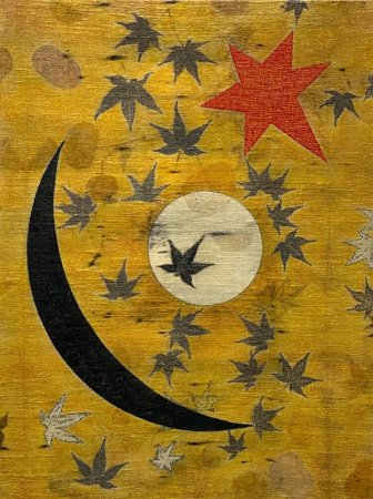 """Fire Moon"" by Lisa Brinkman (eco-prints eucalyptus, and maple on raw silk canvas, cold wax and oils, 18 by 24 inches)"