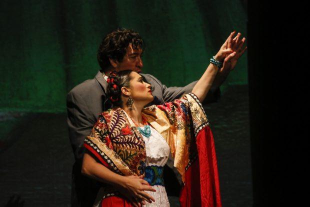 Catalina Cuervo as Frida and Bernardo Bermudez as Diego Rivera in Anchorage Opera's 2020 production of Frida. Photo by Kathleen Behnke, courtesy of Anchorage Opera.
