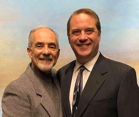 """Ed Schoaps (left) is directing his longtime friend and theater collaborator Lance Nuttman in a reprisal of """"Novecento,"""" the first play to be performed on stage at Gallery Theater since February 2020. Photo by: Seth Renne, courtesy Gallery Theater"""